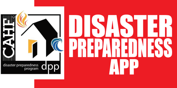 Disaster Preparedness App logo with a house with red and white background